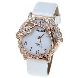 $4.27 Selden Quartz Watch with 12 Numbers Indicate Leather Watchband for Women - White