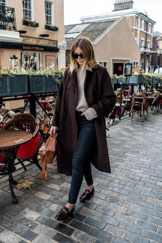 Emma Hill style, Brown winter coat, washed black skinny jeans, beige wool jumper, Loewe puzzle bag, oversized Celine sunglasses, mock croc brown loafers