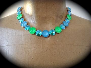 Neon Blue Lime Green Tennis Necklace, Rivoli Necklace, Blue Necklace, Neon Necklace, Chunky Necklace, Rhinestone Necklace, not Sabika by TheCrystalRose for $125.00