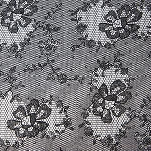 Black & White Faux Lace Cotton Lycra Jersey Knit Fabric
