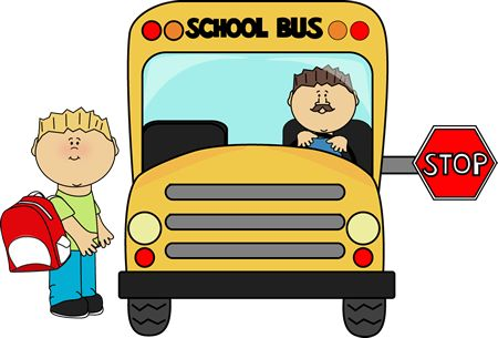 Boy getting on a school bus from MyCuteGraphics