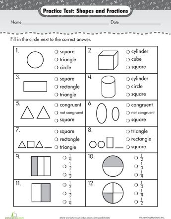 math worksheet : practice test simple shapes  fractions : Fraction Test Worksheet