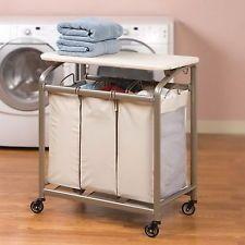 New 3 Bag Rolling Laundry Sorter Cart Folding Clothes Hamper Flip Top Surface
