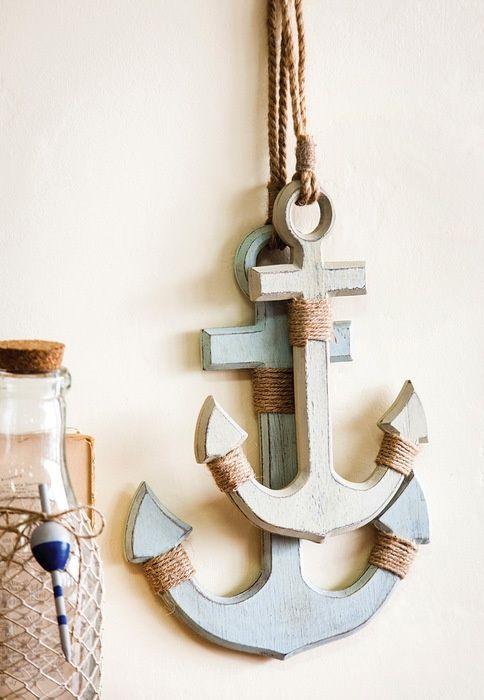 Whitewashed Wall Anchors Set Of 2 Anchor Wall Decor Wood Anchor Wall Anchors