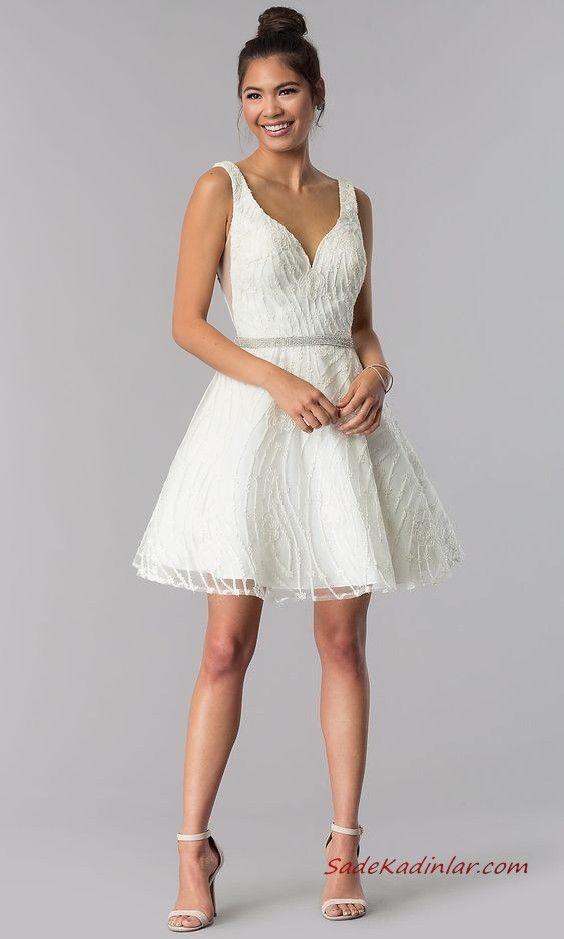 2020 Sik Abiyeler Beyaz Kisa Askili Kalp Yaka Klos Etekli Krem Topuklu Ayakkabi Mezunlar Gecesi Elbiseleri The Dress Kisa Etekli Elbiseler
