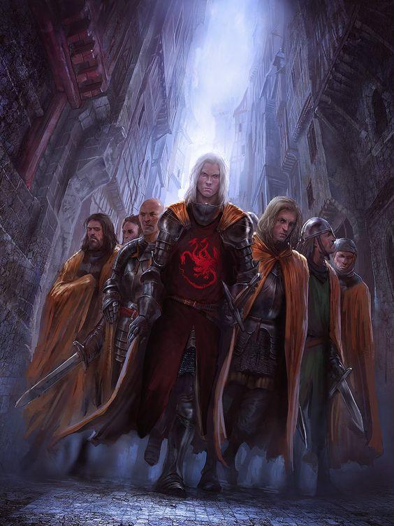 """Prinz Daemon Targaryen (der Prinz der Stadt: 81 - 130 n.A.E) als Lord Kommandant der Stadtwache, dort bekannt als Lord Flohloch, mit seinen Goldröcken (aus """"Die Welt von Eis und Feuer"""")."""