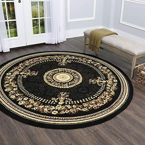 Home Dynamix Optimum 11023 450 Polypropylene 7 Feet 10 Inch By 7 Feet 10 Inch Round Area Rug Black Home Dynamix Round Area Rugs Black Area Rugs