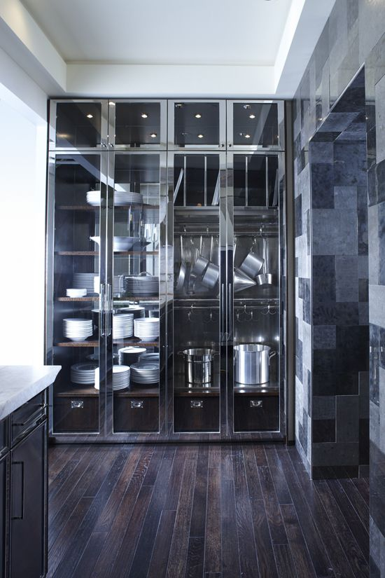 These cabinets are more like lockers that you can store your kitchen belongings in. they are completely clear on the outside and they have locks as well. But what's really neat is they are made entirely of metal.
