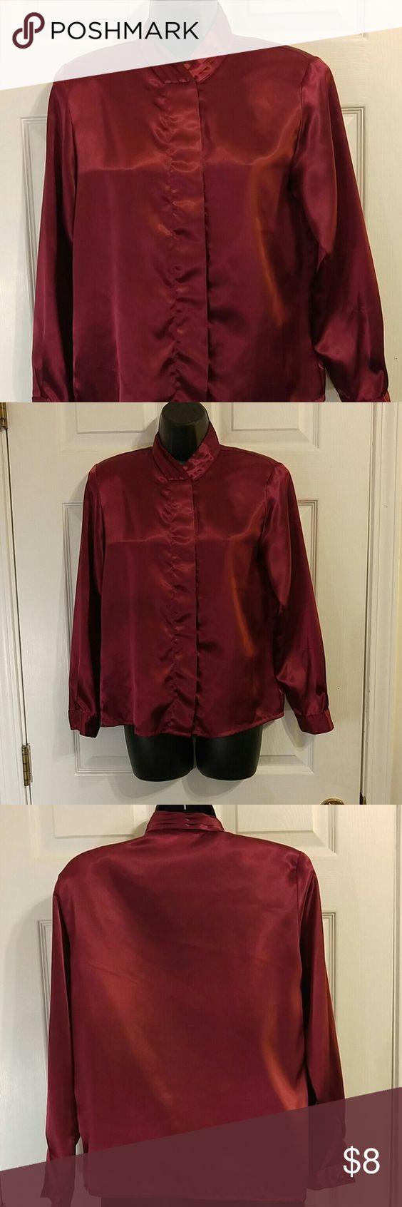 Worthington Burgundy Button Down Blouse Burgundy button down blouse. In good condition. Size 4. 100% polyester. Worthington Tops Button Down Shirts