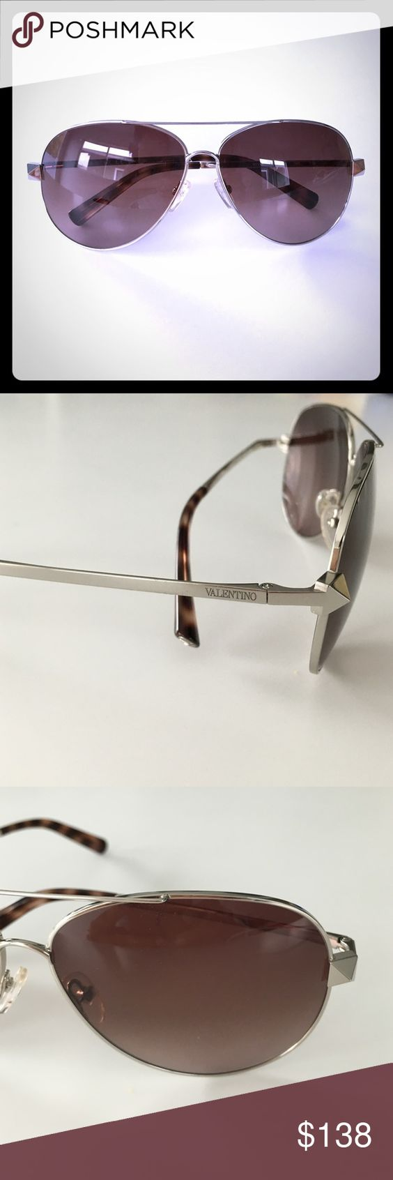 New Valentino Rockstud aviator sunglasses silver New Authentic Valentino Rockstud Aviator sunglasses in silver with brown lens and tortoise on end of sunglasses arm. Super chic and this season. No scratches or marks these are new. Valentino Accessories Sunglasses