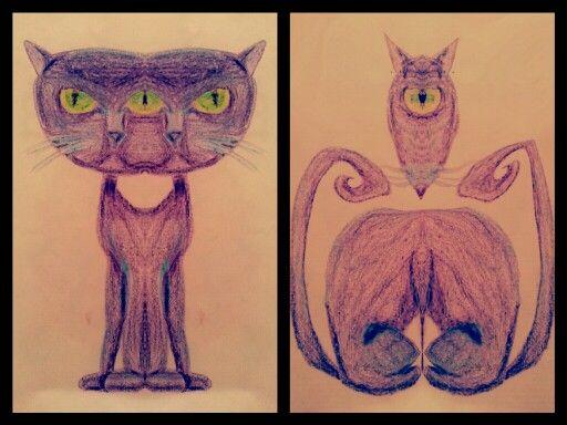 sketch draw cat rat freak