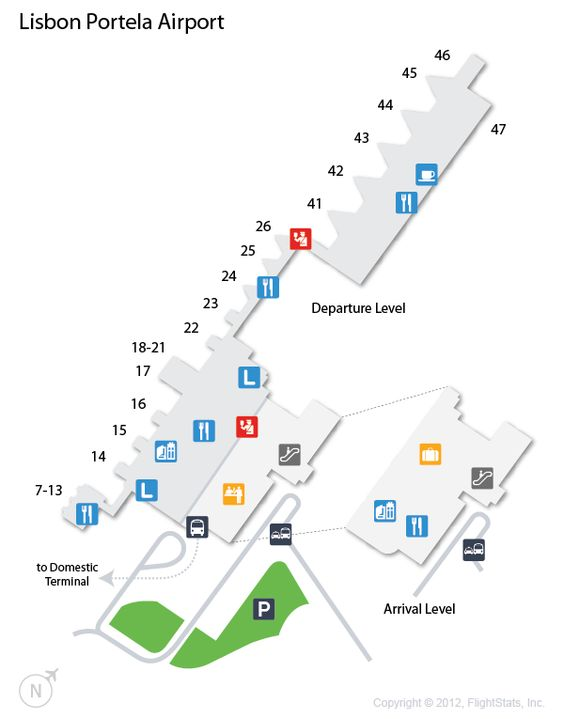 (LIS) Lisbon Portela Airport Terminal Map airports