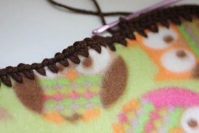 How to crochet around fleece for Project Linus.