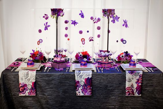 Red And Purple Wedding Table Settings   Wedding Ideas