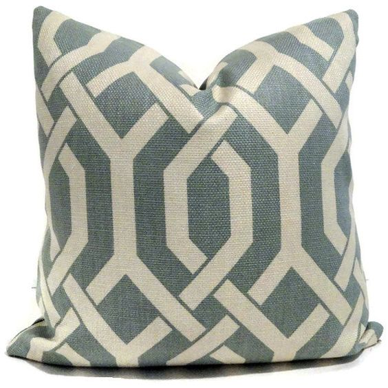Ultrasoft Euro Square Decorative Sham Pillow White : Robin Egg Blue and Off White Trellis Decorative Pillow Cover Square, Euro or Lumbar Pillow ...