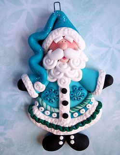 Polymer clay Santa in blue.  |  Clay Cuties on Flickr