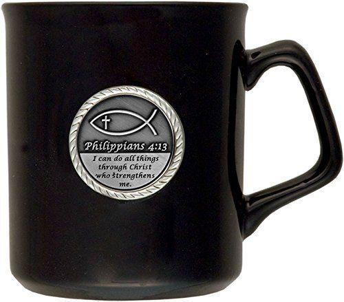 Philippians 4 13 I Can Do All Things 10 Oz Coffee Latte Tea Cup With Bible Verse Christian Fish Raised Emblem Mug Cup To Coffee Latte Tea Cups Philippians