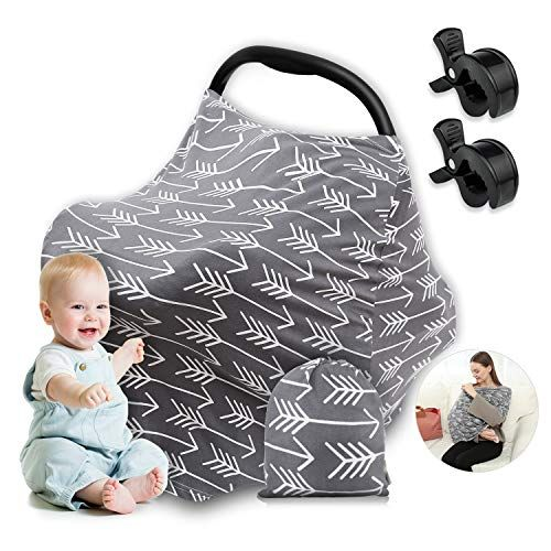 Baby Car Seat Canopy Nursing Breastfeeding Stroller Deer Arrow Boy Girl Grey New