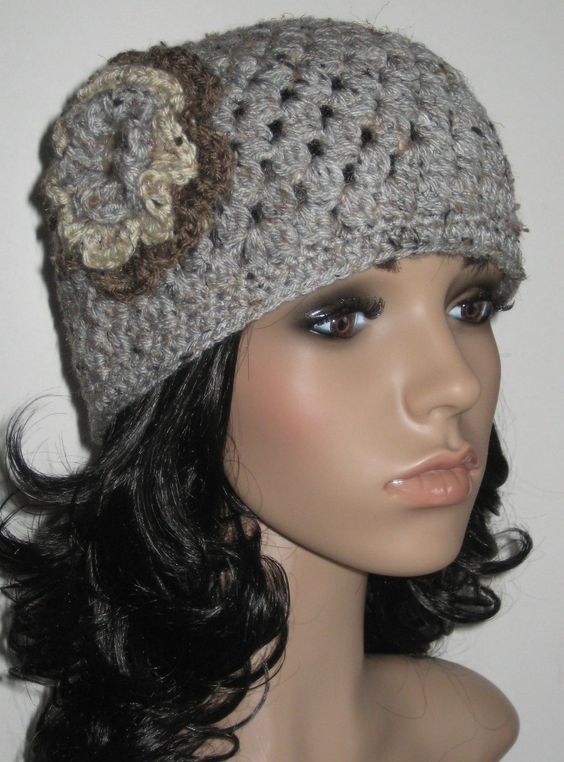 Women's Crochet Hat with Detachable Flower Trim - Grey Marble with Oatmeal and Barley. $28.00, via Etsy.