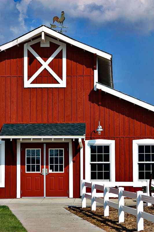 Red Barn And I Love The Rooster Weathervane