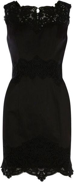 Karen Millen Heavy Cotton Lace Collection Dress in Black