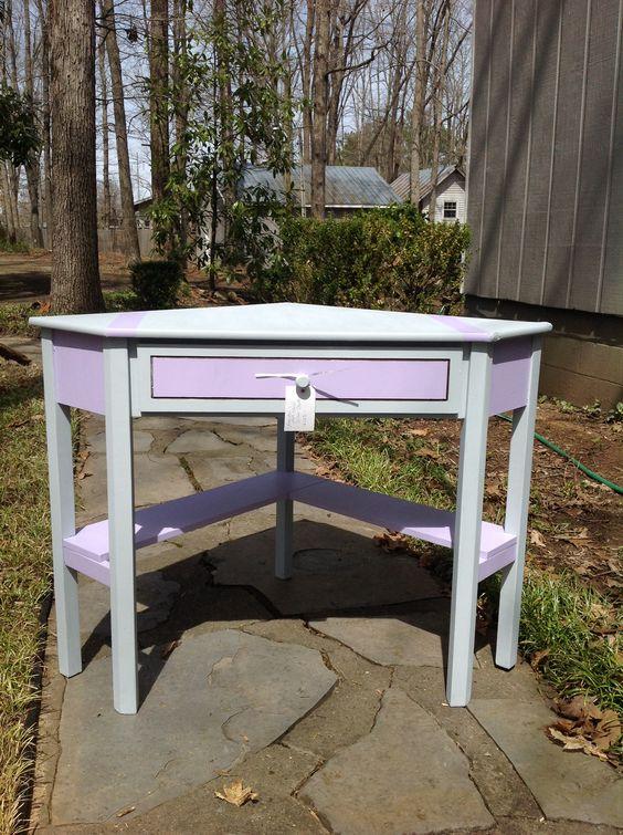 Corner desk in pastels