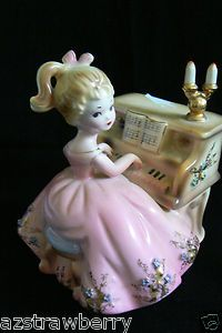Josef Originals Porcelain figurine Girl Pink dress Piano Sankyo Japan Music Box: Porcelain Figurine, China Girl, Musicbox