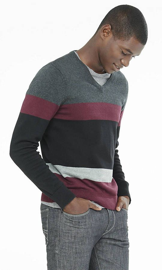 Mixed Stripe V Neck Sweater