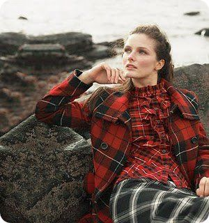 I love it. I'd wear it. And I too would stare off into the middle distance whilst comfortably lounging on a rock...I mean, there's three different plaids there, LOTS to think about there.