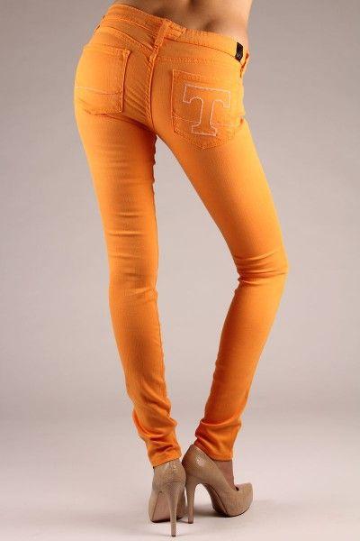 "OCJ Apparel | Premium Collegiate Denim | Tennessee Volunteers Skinny Jeans The ""T"" in Orange | www.ocjapparel.com"