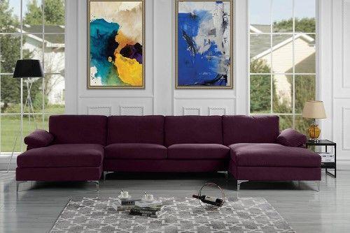 Modern Velvet Sectional Sofa With Double Chaise Extra Wide Blue U Shaped Sectional Sofa Modern Sofa Sectional Modern Sectional
