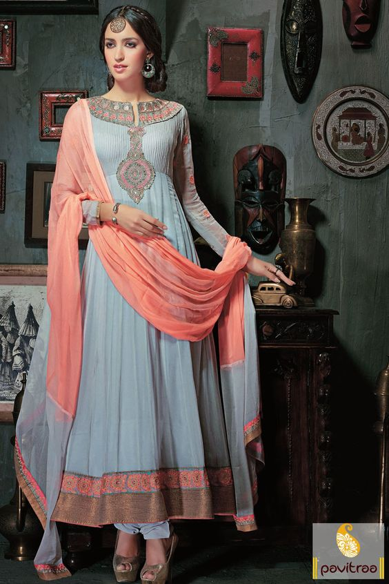 Pavitraa Ice Blue Party Wear Anarkali Salwar Suit Rs 3920.4 #anarkalisalwarsuits #designersalwarsuits #designersalwarsuits #embroiderusalwarsuits