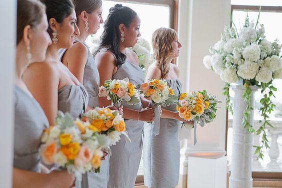 San Francisco Wedding at the Flood Mansion. Yellow bridesmaid bouquets, silver/grey bridesmaid dresses, white hydrangea