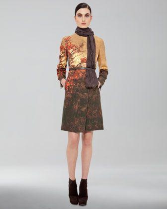 Akris Tree-Print Wool Coat, Thin Leather Belt & Fringed Scarf - Neiman Marcus