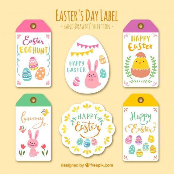 Collection of easter day stickers and labels Free Vector