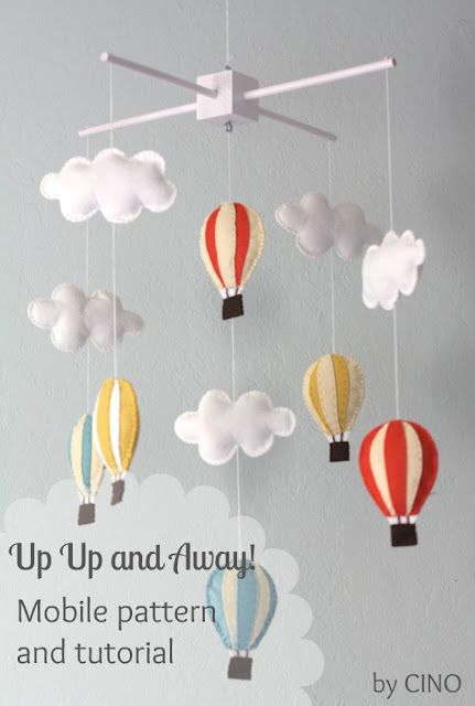 mobile mit hei luftballons und wolken mobile pinterest babymobile vintage party und muster. Black Bedroom Furniture Sets. Home Design Ideas