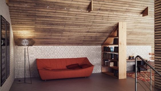 Stylish Industrial Loft Design In Wood Brick And Concrete - A loft with industrial design by russian designer maxim zhukov