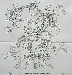 Vintage Embroidery Transfers | Details about VINTAGE SILVER EMBROIDERY TRANSFER - LARGE JACOBEAN ...