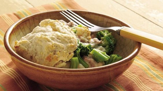 Saucy tuna and broccoli pair with biscuits for a quick and  cozy family dinner ready in 30 minutes.