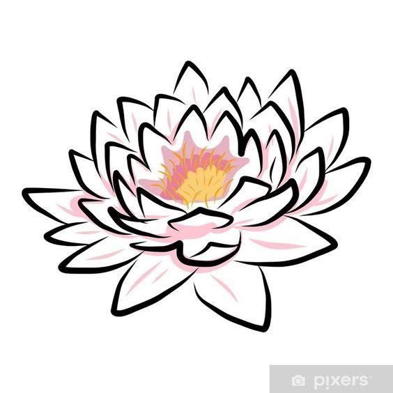 Vinilo Pixerstick Dibujo A Mano Lirio De Agua Flor De Loto Flor Pixers Vivimos Para Cambiar Flor De Loto Dibujo Flor De Lotto Flor De Loto