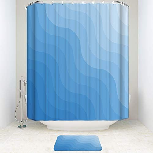 Bathroom Sets Shower Curtain With Bath Doormat Rugs Blue Gradient