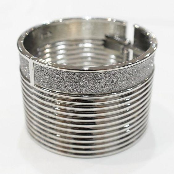 Bracelet manchette Argent/Doré avec strass MAAD094