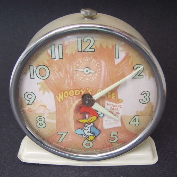 Vintage Animated Woody Woodpecker Wind Up Alarm Clock Made