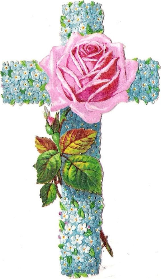 Oblaten Glanzbild scrap die cut chromo Blume Kreuz cross violett forgetmenot: