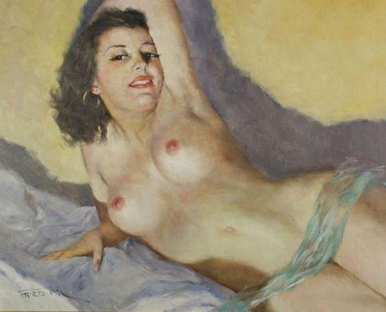 Pál Fried 1893-1976 | Hungarian-born American painter | Nude portrait: