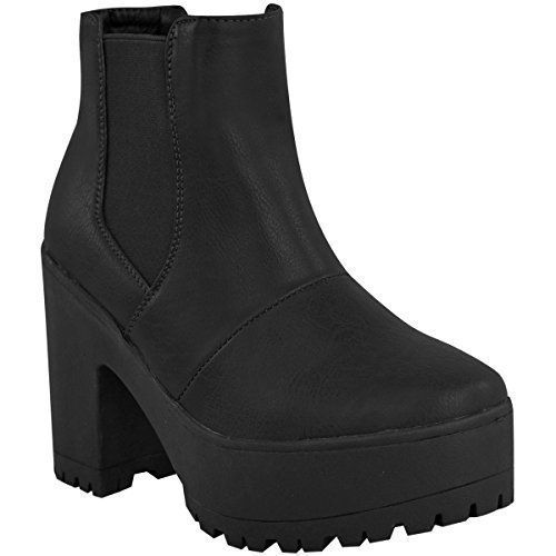 Womens Chelsea Ankle Boots Chunky Platforms Block High Heels Slip On Size