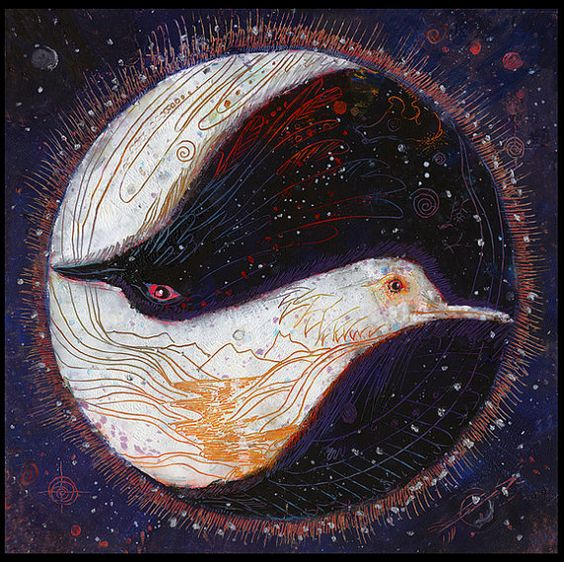 BIRDS: Raven, Dove Painting Yin Yang symbol. Balancing each other out to create harmony between the two...credit Maya Trysil, artist