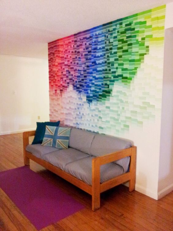 Paint chip wall - pretty much free! http://www.facebook.com/events/399407250120479/ like it :)