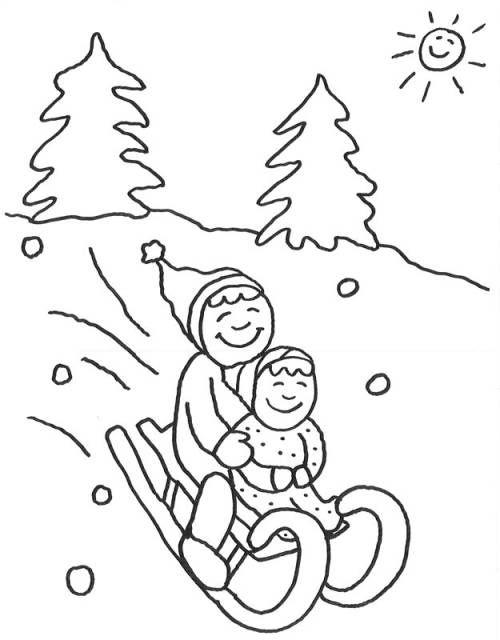 Advent Kinder Beim Schlittenfahren Zum Ausmalen Ausmalen Ausmalbilder Weihnachten Kindergarten Kunst