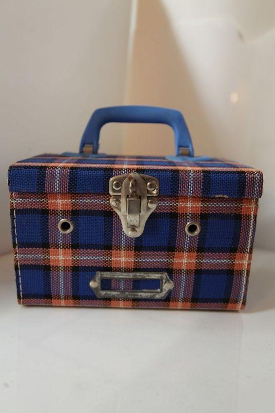 70s Schoolgirl picnic checked basket 4 #Box